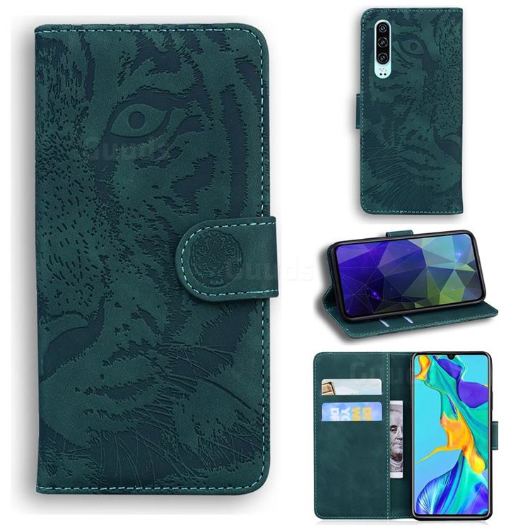 Intricate Embossing Tiger Face Leather Wallet Case for Huawei P30 - Green