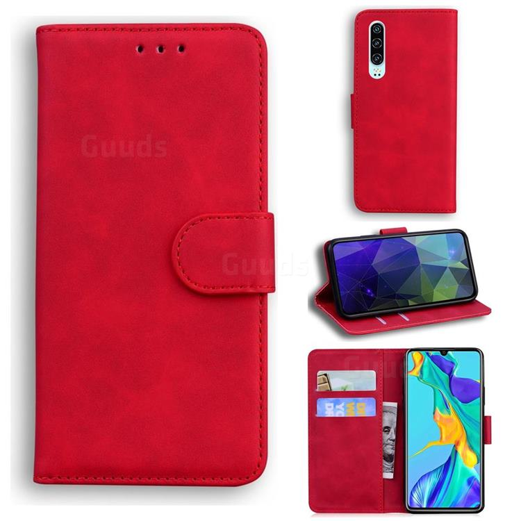 Retro Classic Skin Feel Leather Wallet Phone Case for Huawei P30 - Red
