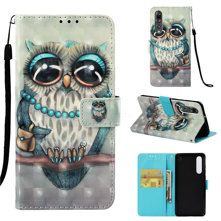 Sweet Gray Owl 3D Painted Leather Wallet Case for Huawei P30