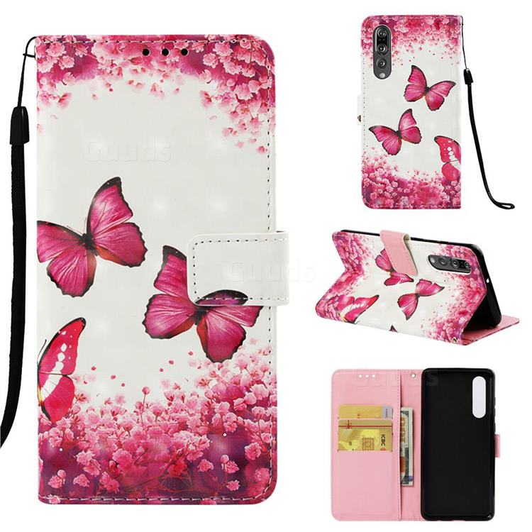 Rose Butterfly 3D Painted Leather Wallet Case for Huawei P30