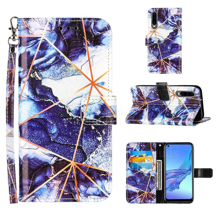 Starry Blue Stitching Color Marble Leather Wallet Case for Huawei P30