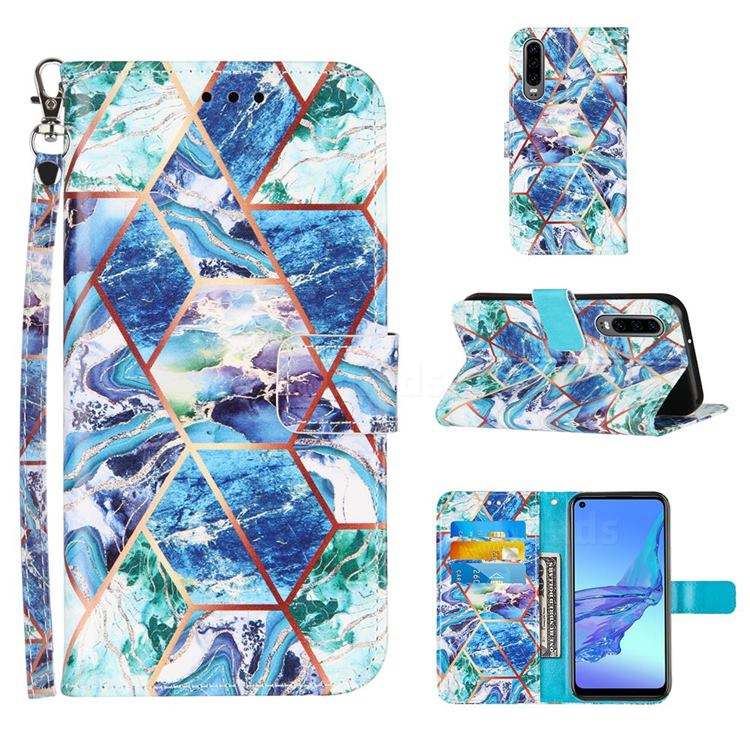 Green and Blue Stitching Color Marble Leather Wallet Case for Huawei P30