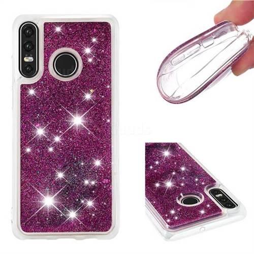 Dynamic Liquid Glitter Quicksand Sequins TPU Phone Case for Huawei P30 Lite - Purple
