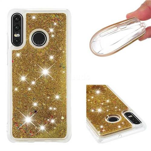 Dynamic Liquid Glitter Quicksand Sequins TPU Phone Case for Huawei P30 Lite - Golden