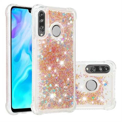 Dynamic Liquid Glitter Sand Quicksand Star TPU Case for Huawei P30 Lite - Diamond Gold