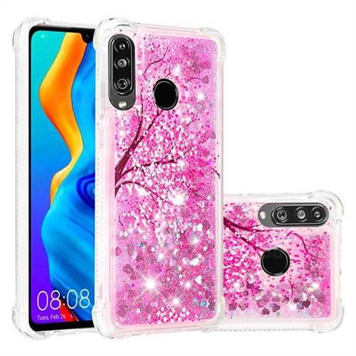 Pink Cherry Blossom Dynamic Liquid Glitter Sand Quicksand Star TPU Case for Huawei P30 Lite