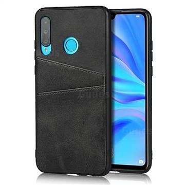 Simple Calf Card Slots Mobile Phone Back Cover for Huawei P30 Lite - Black