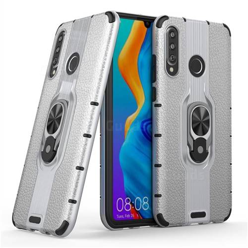 Alita Battle Angel Armor Metal Ring Grip Shockproof Dual Layer Rugged Hard Cover for Huawei P30 Lite - Silver