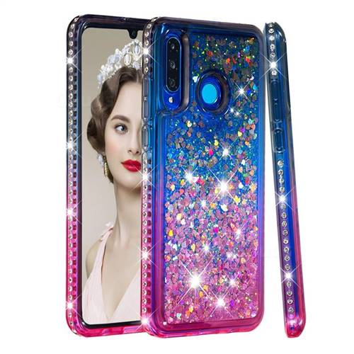 Diamond Frame Liquid Glitter Quicksand Sequins Phone Case for Huawei P30 Lite - Gray Pink