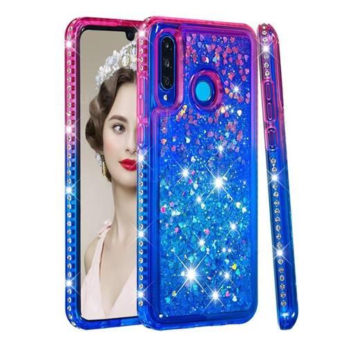 Diamond Frame Liquid Glitter Quicksand Sequins Phone Case for Huawei P30 Lite - Pink Blue