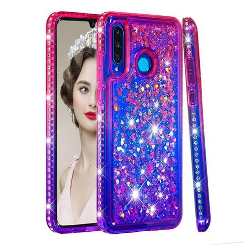 Diamond Frame Liquid Glitter Quicksand Sequins Phone Case for Huawei P30 Lite - Pink Purple