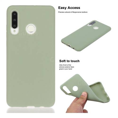 Soft Matte Silicone Phone Cover for Huawei P30 Lite - Bean Green