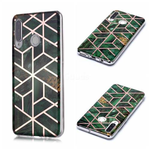 Green Rhombus Galvanized Rose Gold Marble Phone Back Cover for Huawei P30 Lite