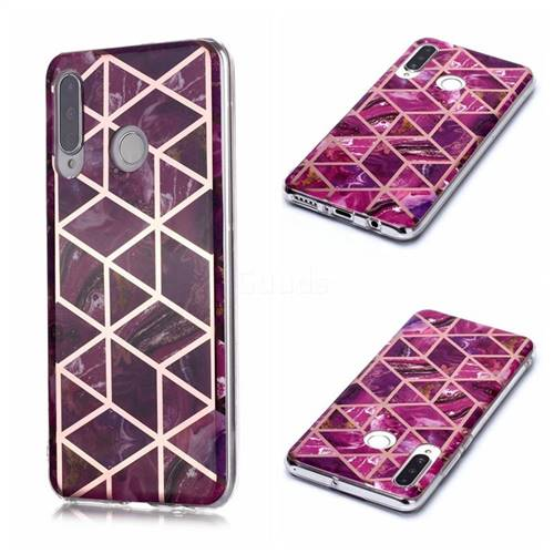 Purple Rhombus Galvanized Rose Gold Marble Phone Back Cover for Huawei P30 Lite