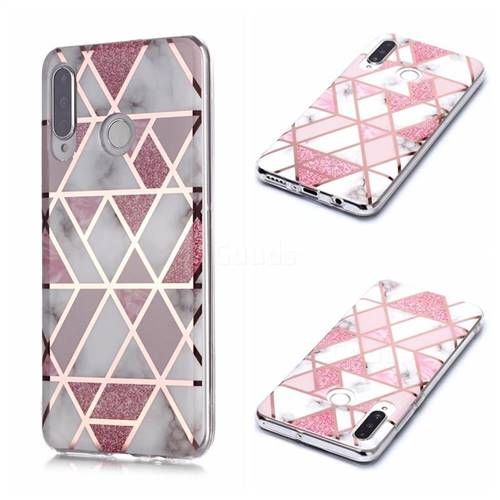 Pink Rhombus Galvanized Rose Gold Marble Phone Back Cover for Huawei P30 Lite