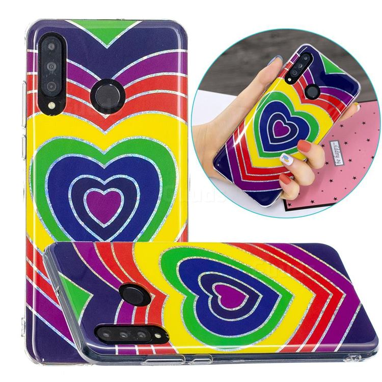 Rainbow Heart Painted Galvanized Electroplating Soft Phone Case Cover for Huawei P30 Lite