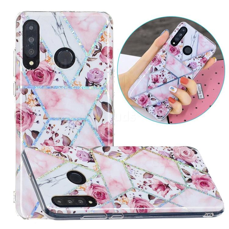 Rose Flower Painted Galvanized Electroplating Soft Phone Case Cover for Huawei P30 Lite