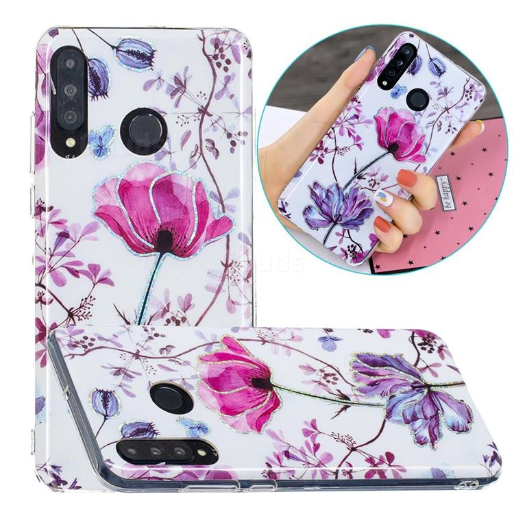 Magnolia Painted Galvanized Electroplating Soft Phone Case Cover for Huawei P30 Lite