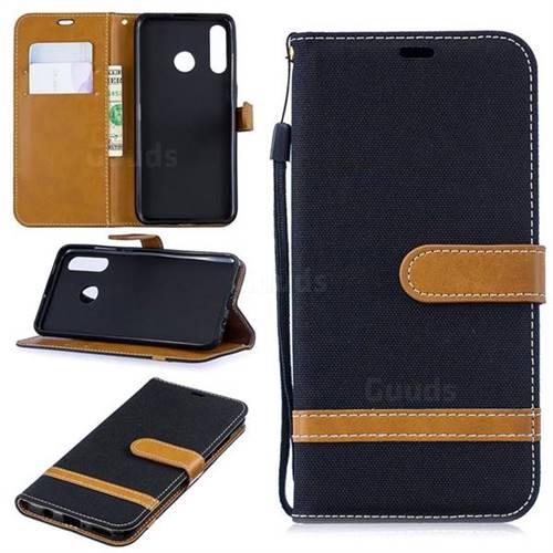 Jeans Cowboy Denim Leather Wallet Case for Huawei P30 Lite - Black