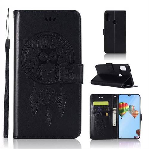 Intricate Embossing Owl Campanula Leather Wallet Case for Huawei P30 Lite - Black