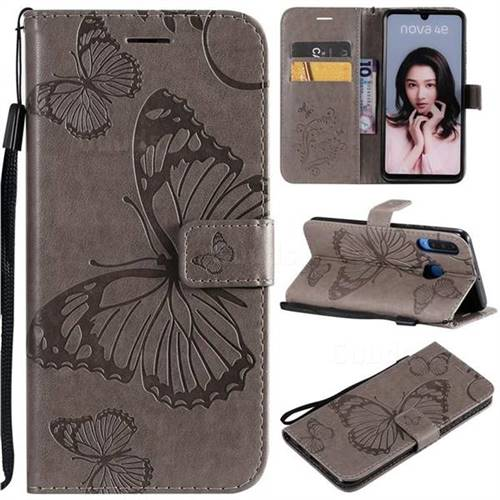 Embossing 3D Butterfly Leather Wallet Case for Huawei P30 Lite - Gray