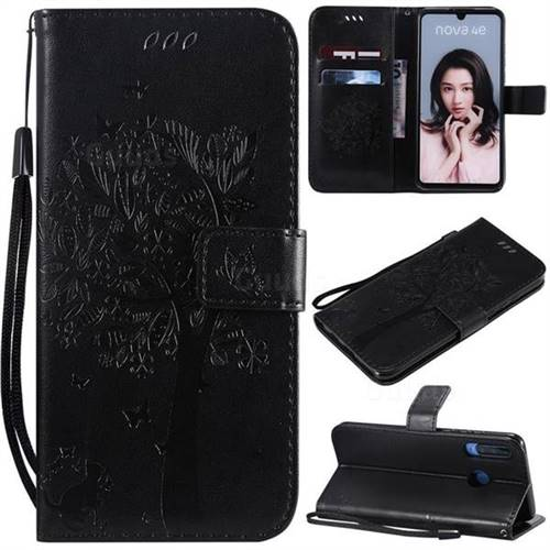 Embossing Butterfly Tree Leather Wallet Case for Huawei P30 Lite - Black