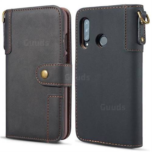 Retro Luxury Cowhide Leather Wallet Case for Huawei P30 Lite - Black