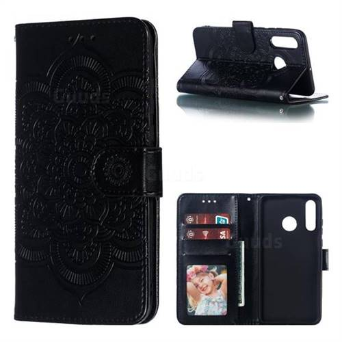 Intricate Embossing Datura Solar Leather Wallet Case for Huawei P30 Lite - Black