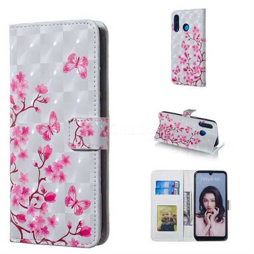 Butterfly Sakura Flower 3D Painted Leather Phone Wallet Case for Huawei P30 Lite