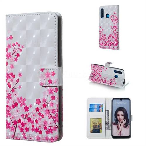 Cherry Blossom 3D Painted Leather Phone Wallet Case for Huawei P30 Lite