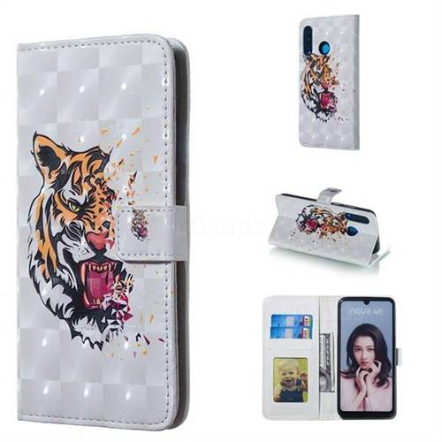 Toothed Tiger 3D Painted Leather Phone Wallet Case for Huawei P30 Lite