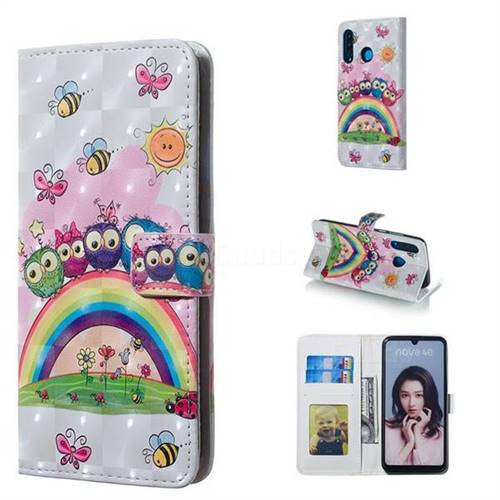 Rainbow Owl Family 3D Painted Leather Phone Wallet Case for Huawei P30 Lite