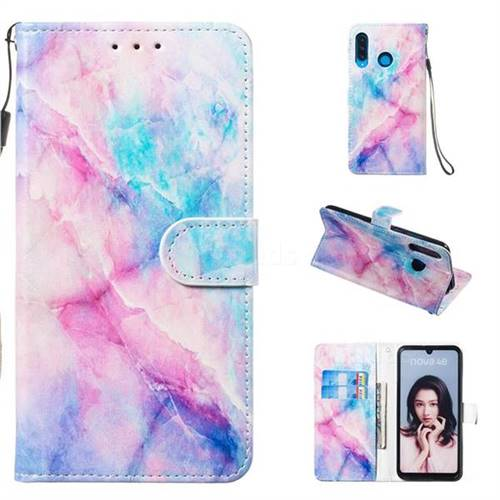 Blue Pink Marble Smooth Leather Phone Wallet Case for Huawei P30 Lite