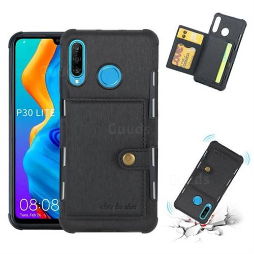 Brush Multi-function Leather Phone Case for Huawei P30 Lite - Black