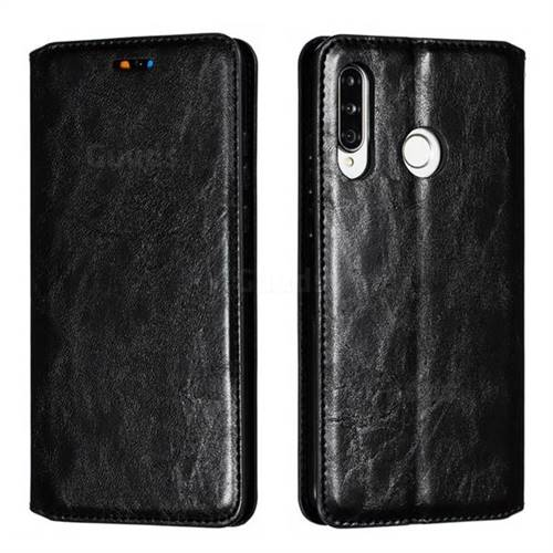 Retro Slim Magnetic Crazy Horse PU Leather Wallet Case for Huawei P30 Lite - Black