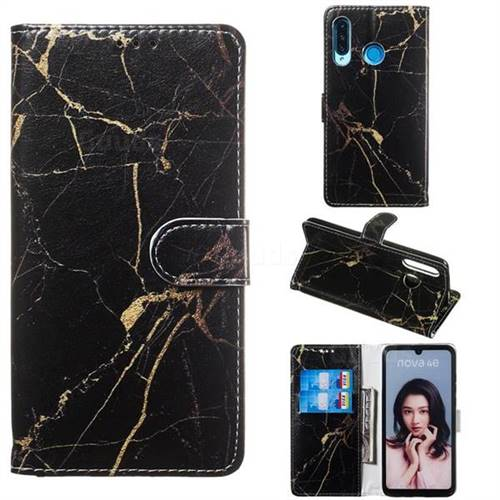 Black Gold Marble PU Leather Wallet Case for Huawei P30 Lite
