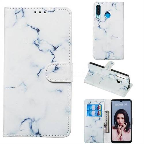 Soft White Marble PU Leather Wallet Case for Huawei P30 Lite