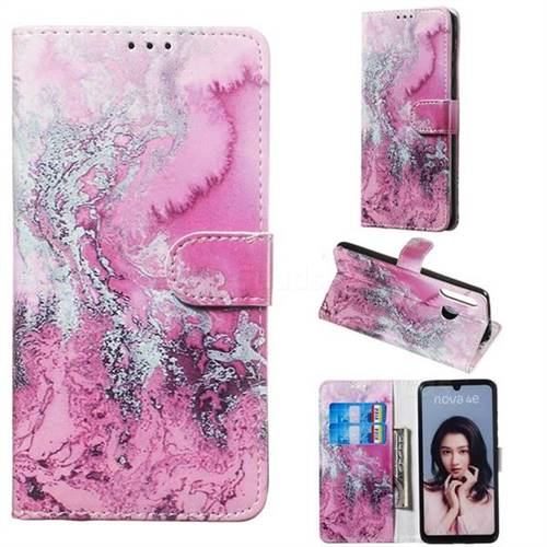 Pink Seawater PU Leather Wallet Case for Huawei P30 Lite