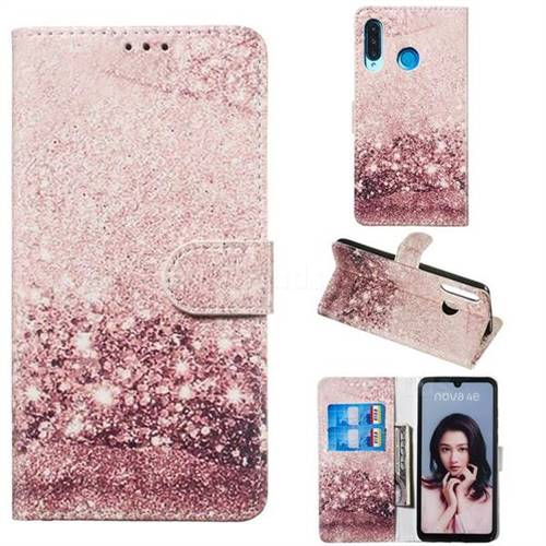 Glittering Rose Gold PU Leather Wallet Case for Huawei P30 Lite