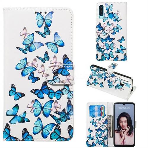 Blue Vivid Butterflies PU Leather Wallet Case for Huawei P30 Lite
