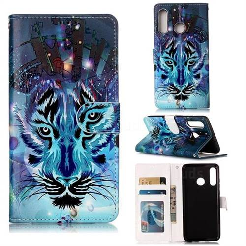 Ice Wolf 3D Relief Oil PU Leather Wallet Case for Huawei P30 Lite