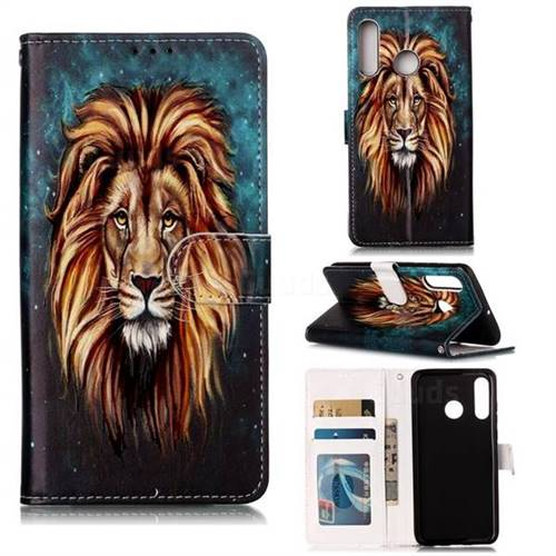 Ice Lion 3D Relief Oil PU Leather Wallet Case for Huawei P30 Lite