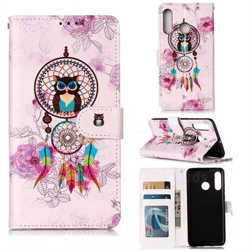 Wind Chimes Owl 3D Relief Oil PU Leather Wallet Case for Huawei P30 Lite
