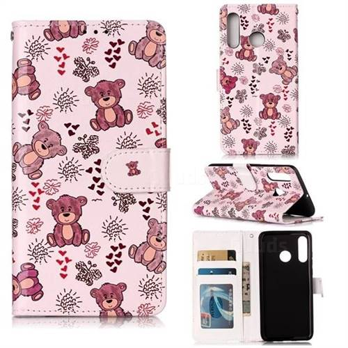 Cute Bear 3D Relief Oil PU Leather Wallet Case for Huawei P30 Lite