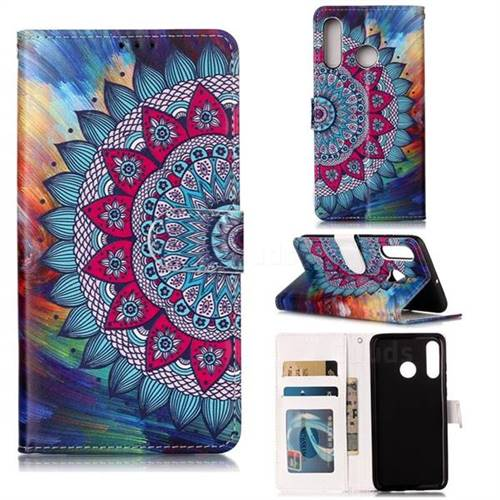 Mandala Flower 3D Relief Oil PU Leather Wallet Case for Huawei P30 Lite