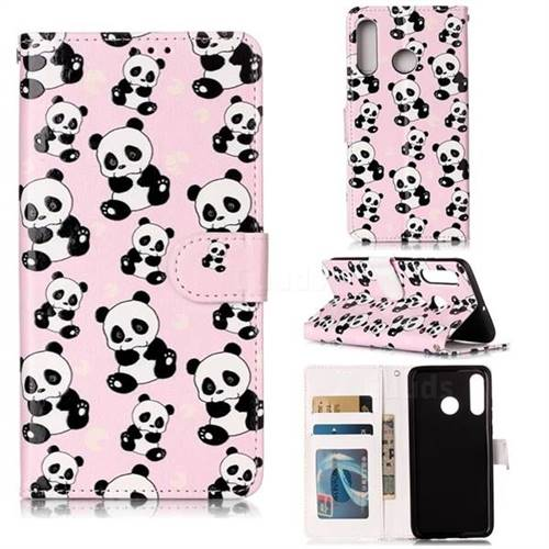 Cute Panda 3D Relief Oil PU Leather Wallet Case for Huawei P30 Lite