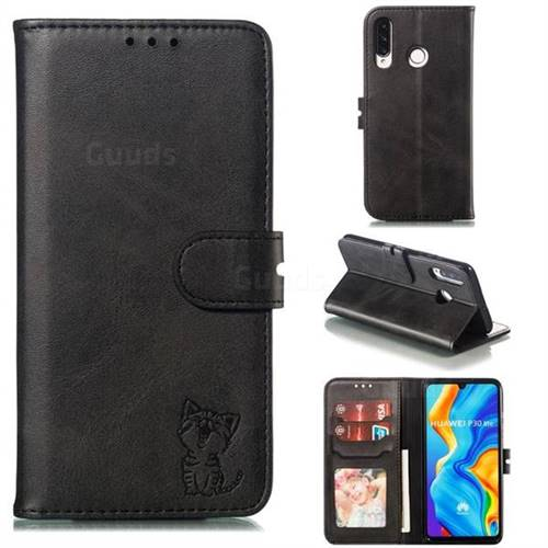 Embossing Happy Cat Leather Wallet Case for Huawei P30 Lite - Black