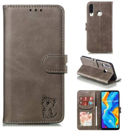 Embossing Happy Cat Leather Wallet Case for Huawei P30 Lite - Gray