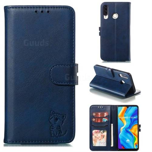 Embossing Happy Cat Leather Wallet Case for Huawei P30 Lite - Blue
