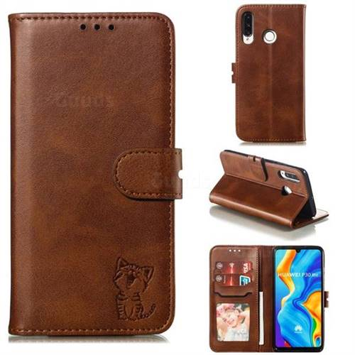 Embossing Happy Cat Leather Wallet Case for Huawei P30 Lite - Brown